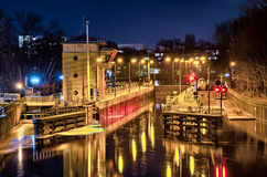 Weir and docks in the night Royalty Free Stock Photos