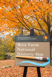 Weir Farm in Autumn. Sign on the grounds of Weir Farm Historic site in Wilton, Connecticut Stock Image