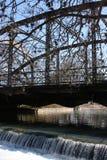 Weir at Iron Bridge. This is in a San Antonio Texas park. I love the old Iron Bridges Royalty Free Stock Photo