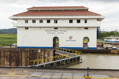Weir Miraflores κανάλι του Παναμά στοκ εικόνες