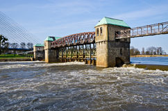 Weir on the Odra river Stock Image