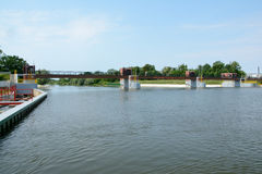 Weir on Odra river. Royalty Free Stock Photography