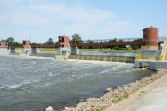 Weir on Odra river. Stock Photos