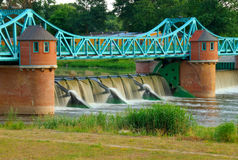 Weir On Odra River Royalty Free Stock Photos