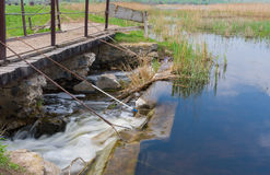 Weir On Small River Kilchen In Ukraine Royalty Free Stock Image