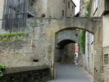 Access through the medieval archway to the old town. Weir plant in southern Germany from the 13th century, Early medieval defensive fortification on the Royalty Free Stock Photography