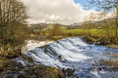 Weir on River Kent, Cumbria, England Stock Image