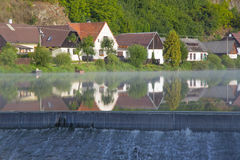 Weir on the river Luznice. In village Dobronice, Czech republic Stock Images