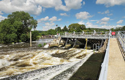 Weir and sluice gate on the River Thames Stock Image