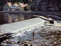 Weir on Vtlava River, Kayakers and Rafters, Cesky Krumlov, Czech Republic Royalty Free Stock Image