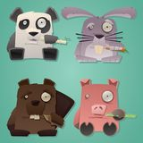 Weird Critters Cartoon Flat Vector Set. Check out a set of four weird looking vector cartoon critters nibbling on some food. Illustrations created in a flat Stock Images