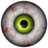 Weird eyeball. Computer generated illustration of bloodshot eyeball with green iris Royalty Free Stock Photos