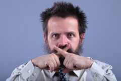 Weird guy will not tell your secrets - professional secrecy Royalty Free Stock Photo