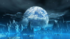 Weird ice planet. 3D render of a surreal ice planet with earth in the sky Stock Photos