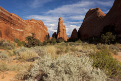 Weird landscape throughout Arches National Park Stock Image
