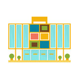 Weird Minimalistic Colorful Shopping Mall Modern Building Exterior Design Project Template Isolated Flat Illustration Stock Photo