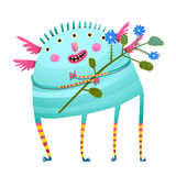 Weird monster holding flowers happy congratulating. Fun creature with bunch of flowers for kids. Vector cartoon Stock Photos