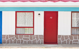 Motel with red and blue doors. Weird Motel with red and blue doors Royalty Free Stock Images