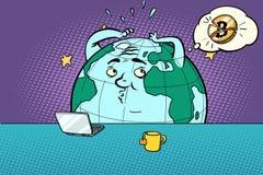 Weird news about bitcoin. Comic book cartoon pop art retro drawing illustration Stock Image