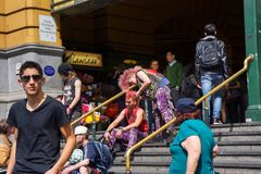 Free Weird Passengers At Railway Station Stock Photo - 108925580