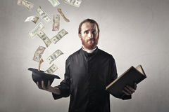 Weird priest stock photo