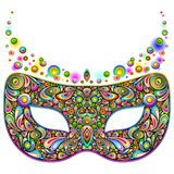 Mask Carnival Psychedelic Night Party isolated on white vector Illustration. Weird and Psychedelic Abstract Carnival Mardi Gras Party Mask, composed by several vector illustration