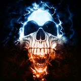 Weird punk skull - storm and lightning. Isolated on black background royalty free illustration