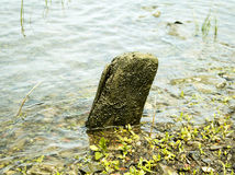 Weird rock upright in lake Royalty Free Stock Images