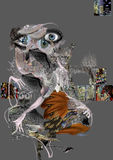Weird scary figure on gray. Abstract figure illustration Royalty Free Stock Images