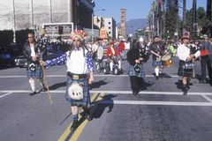 Weird Scottish band marching at the Doo Dah Parade, Pasadena, California Stock Image