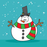 Weird snowman. Weird christmas holiday snowman surprised Royalty Free Stock Image