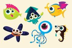 Weird underwater creatures. A set of weird underwater creatures illustration royalty free illustration