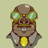 Weird walrus illustration with yellow glasses and yellow tie Royalty Free Stock Photography