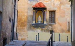 Weise Camino Des Santiago in Heiligem James Way Xativa auch Jativa von stockfotografie