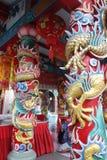 Weise des traditionellen Chinesen, einen Wunsch bei Celestial Dragon Village Suphanburi, Thailand zu machen Lizenzfreie Stockfotos