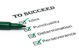 Weise zur Erfolgscheckliste Stockbild