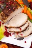 Weises Senf-Braten-Lendenstück-Schweinefleisch Stockfotos