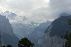 Weisse Lutschine deep river george in Alps, Switzerland Stock Image