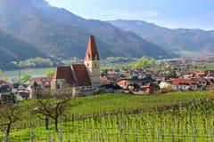 Weissenkirchen在der瓦豪美丽的小村庄  下奥地利州 免版税库存图片