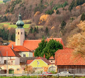 Weissenkirchen, Austria in November 2015, A small town with chur Stock Photo