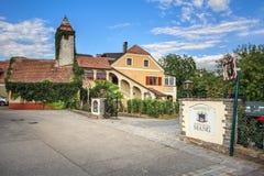 Old winery and wine tavern. Town of Weissenkirchen in der Wachau, Lower Austria, Europe. WEISSENKIRCHEN IN DER WACHAU, AUSTRIA - JULY 8, 2018. Old winery and Royalty Free Stock Photos