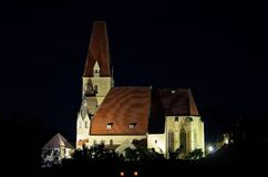 Weissenkirchen in Wachau church night Stock Images