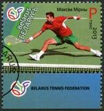 WEISSRUSSLAND - 2013: Shows Maxim Max Mirnyi geboren 1977, Reihe Führer Weißrussland-Tennis Lizenzfreies Stockbild