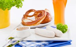 Weisswurst white sausages and sweet mustard with pretzel Royalty Free Stock Photography