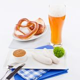 Weisswurst white sausages and sweet mustard with pretzel Royalty Free Stock Images