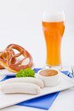 Weisswurst white sausages and sweet mustard with pretzel Royalty Free Stock Image