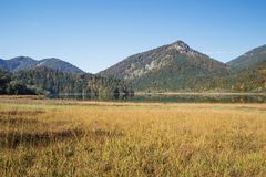 The Weitsee and its surrounding mountains Stock Image