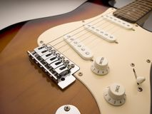 Weitwinkelabschluß der elektrischen Gitarre oben Stockbild