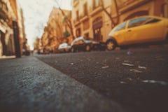 Weitwinkelansicht der Straße in Barcelona stockfoto