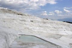 Weitwinkelansicht des Pamukkale-Baumwollschlosses, Denizli/die Türkei lizenzfreies stockfoto